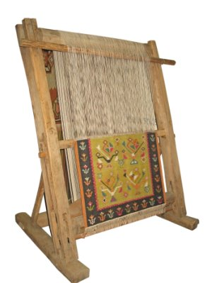 carpet loom. example of a rug weaving loom carpet e
