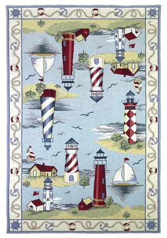 KAS nautical lighthouse rug